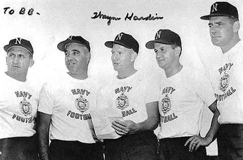 Navy-Coaching-Staff,-Steve-Belichick,-Ernie-Jorge,-Wayne-Hardin,-Rick-Forzano,-Dick-Duden